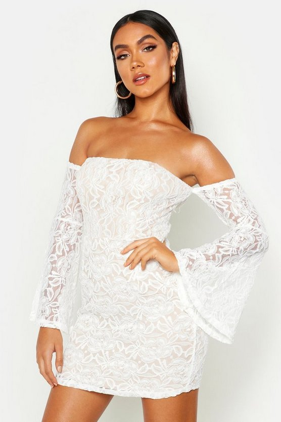 White Off The Shoulder Lace Mini Dress