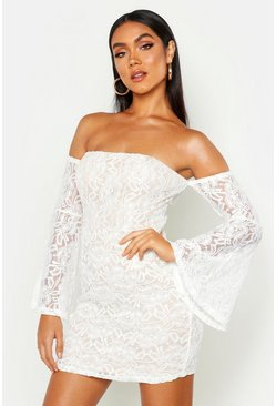 Womens White Off The Shoulder Lace Mini Dress