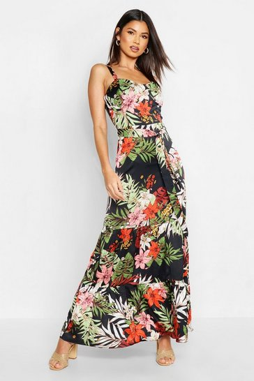 Womens Black Tropical Print Cupped Tiered Maxi Dress