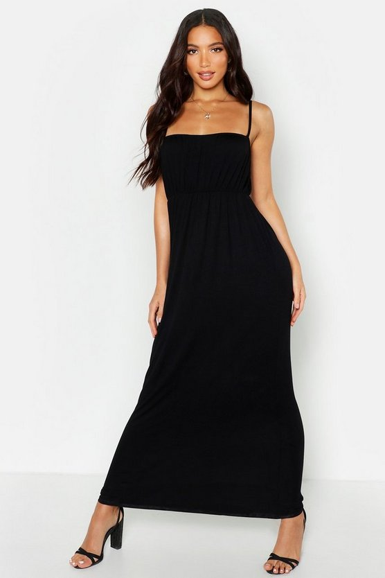 Womens Black Rouche Bust Strappy Maxi Dress