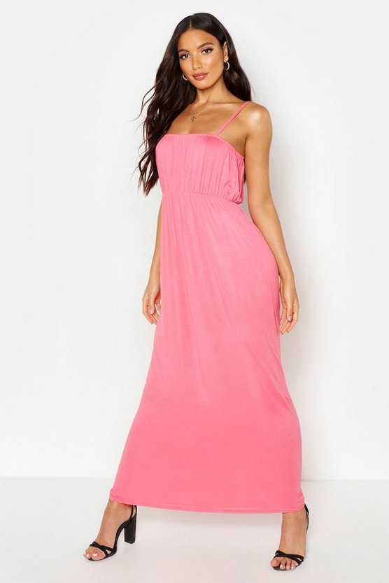 Womens Coral Rouche Bust Strappy Maxi Dress