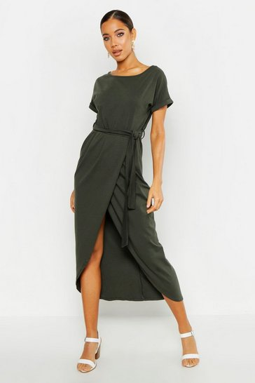 Womens Khaki Wrap T Shirt Maxi Dress