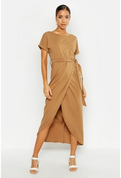 Womens Sand Wrap T Shirt Maxi Dress