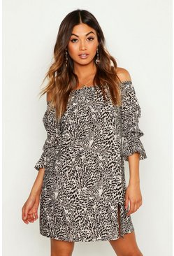 Womens Black Woven Leopard Bardot Sheered Sleeve Shift Dress