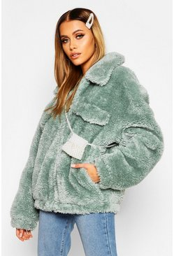 Womens Sage Oversized Teddy Faux Fur Trucker