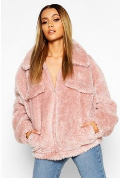 Womens Pink Oversized Teddy Faux Fur Trucker