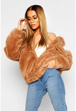 Womens Camel Oversized Teddy Faux Fur Trucker