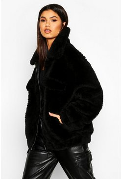 Womens Black Oversized Teddy Faux Fur Trucker