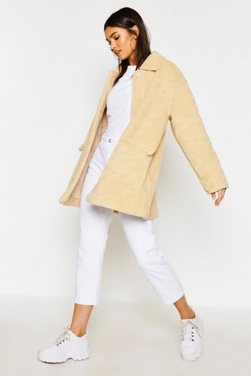 Stone Faux Suede Lined Teddy Faux Fur Coat