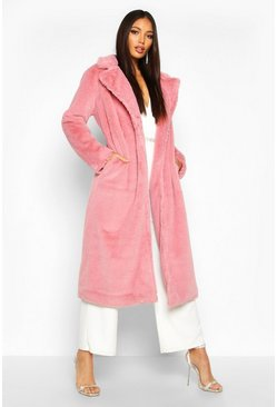 Womens Pink Maxi Faux Fur Coat
