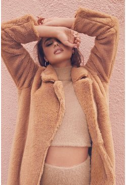 Sand Maxi Faux Fur Coat
