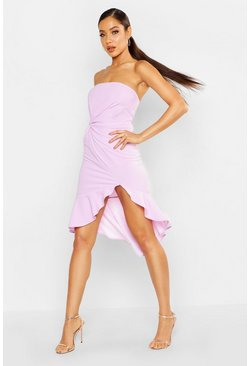 Womens Lilac Front Twist Detail Frill Hem Bandeau Dress