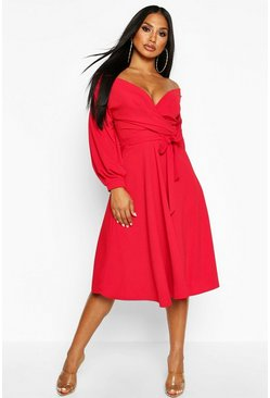 Womens Red Off The Shoulder Wrap Midi Skater Dress