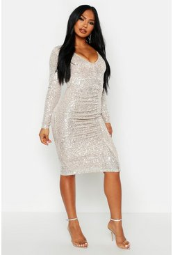 Womens Metallic silver All Over Sequin Ruched Midi Dress