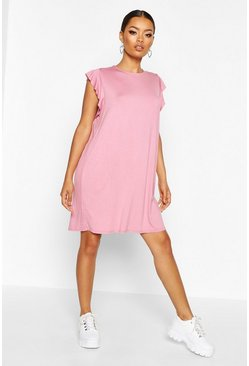 Womens Antique rose Ruffle Detail Jersey Shift Dress