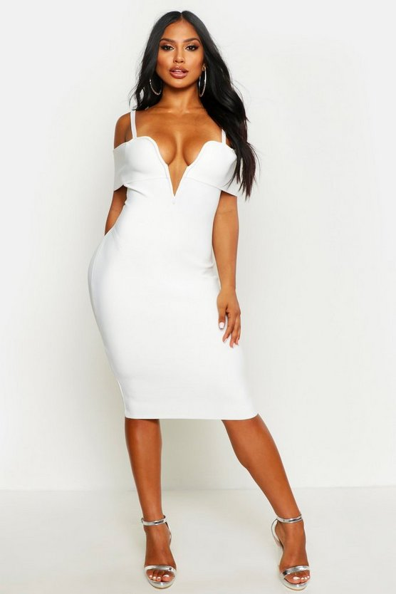 Boutique Sculpting Bardot V Bar Bandage Midi Dress by Boohoo