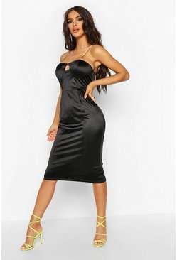 Womens Black Diamante Strap Bodice Stretch Satin Midi Dress
