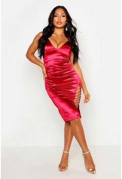 Womens Ruby Diamante Trim Stretch Satin Midi Dress