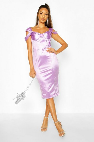 Womens Lilac Stretch Satin Bodice Detail Midi Dress