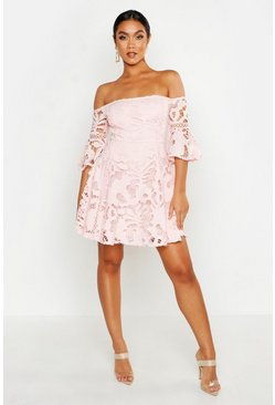 Blush All Over Crochet Skater Dress
