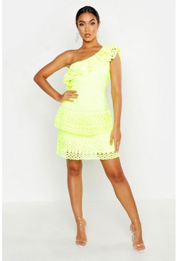 Womens Neon-yellow One Shoulder All Over Crochet Mini Dress