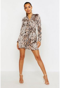 Brown Snake Print Puff Sleeve Wrap Dress