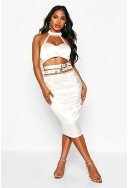 White Buckle Detail Stretch Satin Midi Dress