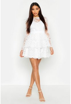 Womens White Embroidered Skater Dress