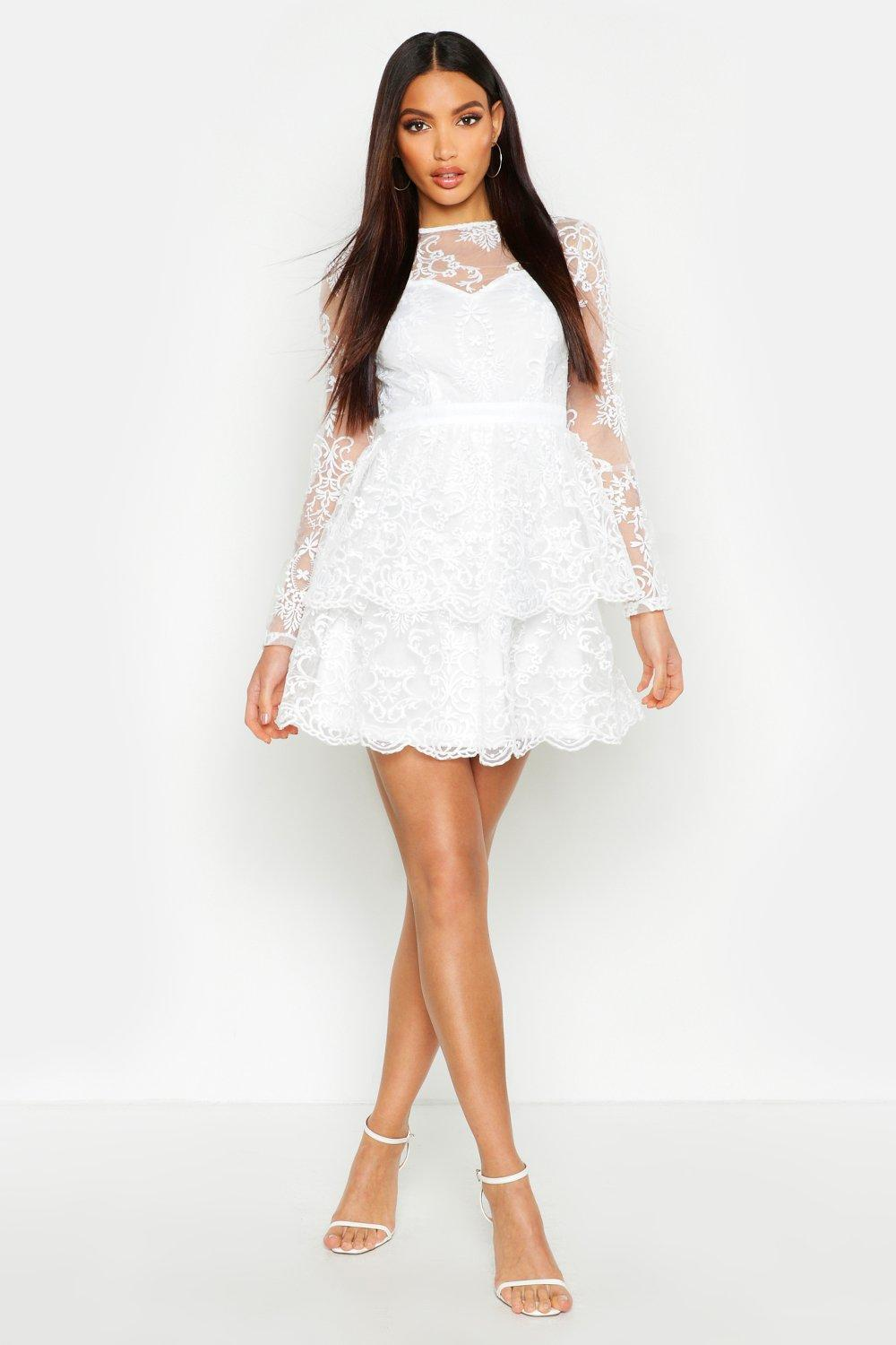 Embroidered Skater Dress by Boohoo