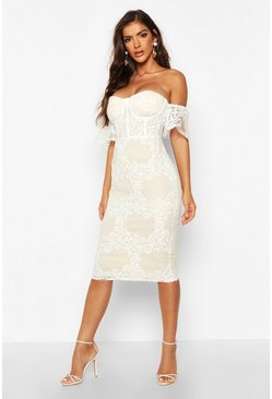 Womens White Embroidered Off Shoulder Midi Dress