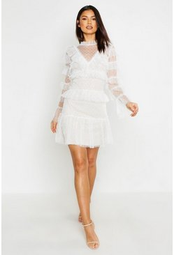 White Dobby Polka Dot Mesh Layered Mini Dress