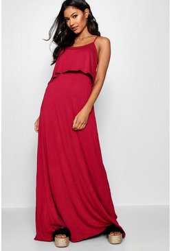 Womens Fuchsia Tie Back Maxi Dress