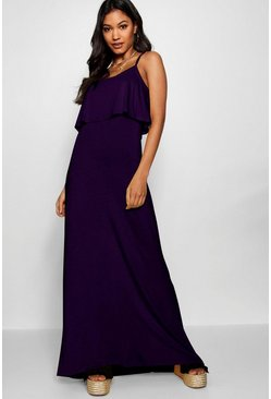 Womens Plum Tie Back Maxi Dress