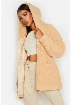 Womens Camel Teddy Faux Fur Utility Jacket