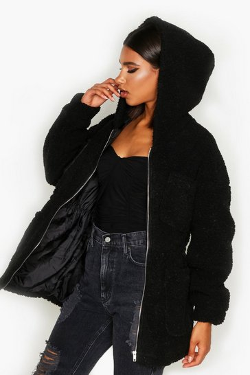 Womens Black Teddy Faux Fur Utility Jacket