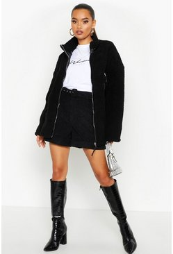 Womens Black PU Trim Faux Teddy Fur Jacket