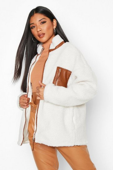 Womens Cream PU Trim Faux Teddy Fur Jacket