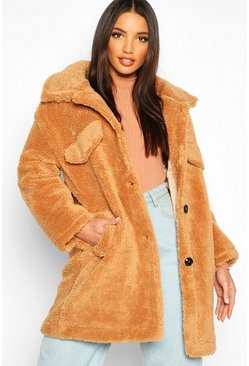 Womens Camel Teddy Faux Fur Oversized Jacket
