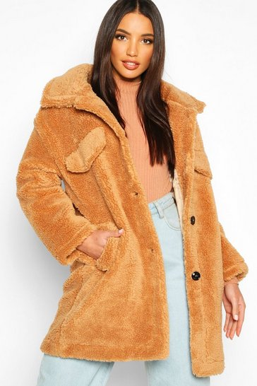 Womens Camel Teddy Faux Fur Oversized Trucker