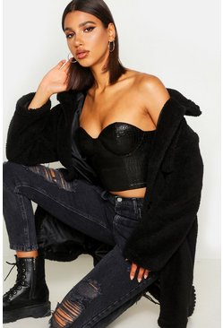 Womens Black Teddy Faux Fur Oversized Trucker