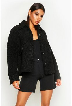 Womens Black Teddy Faux Fur Trucker