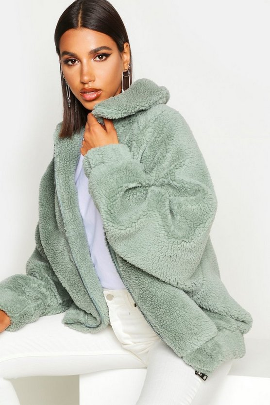 Sage Oversized Teddy Faux Fur Bomber Jacket