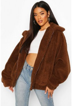 Womens Chocolate Oversized Teddy Faux Fur Bomber Jacket