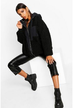 Womens Black Teddy Faux Fur Double Layer Jacket
