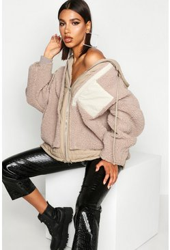 Womens Stone Teddy Faux Fur Double Layer Jacket