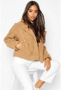 Womens Camel Faux Suede Lined Teddy Faux Fur Biker Jacket