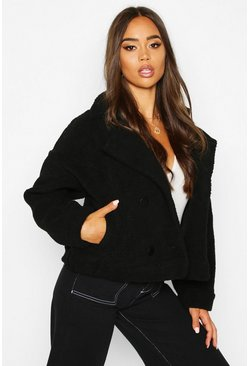 Womens Black Faux Suede Lined Teddy Faux Fur Biker Jacket