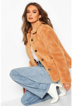 Camel Button Through Teddy Faux Fur Coat