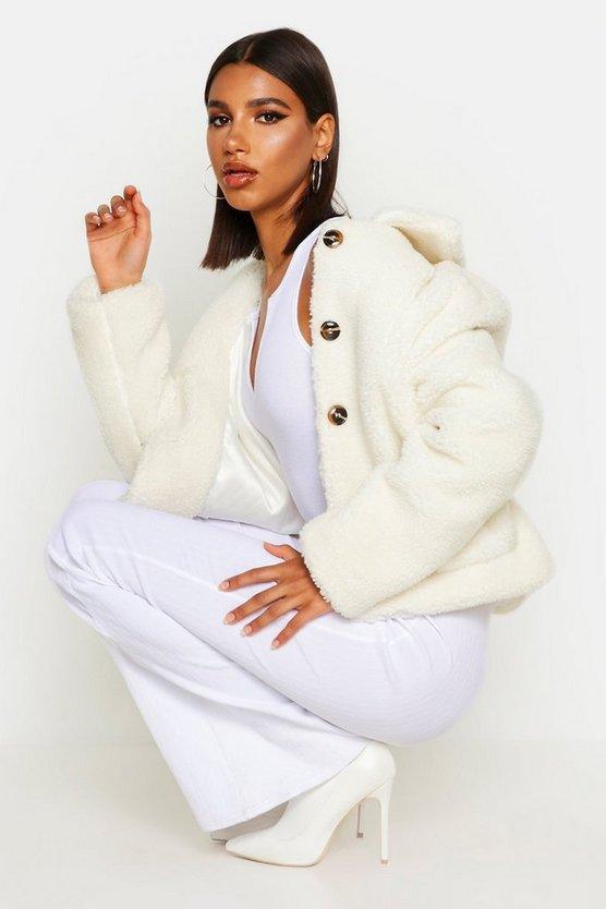 Button Through Teddy Faux Fur Coat