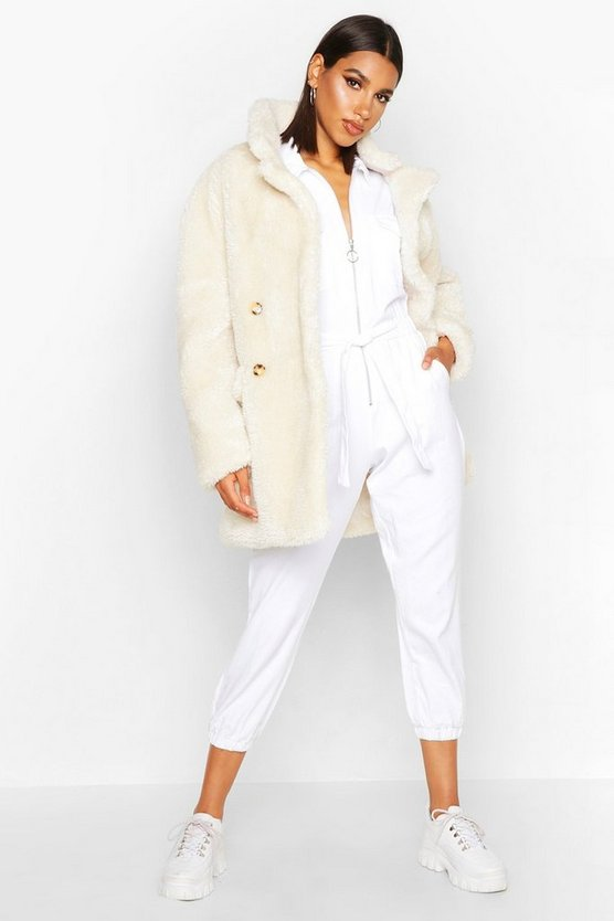 Womens Ecru Double Breasted Teddy Faux Fur Coat